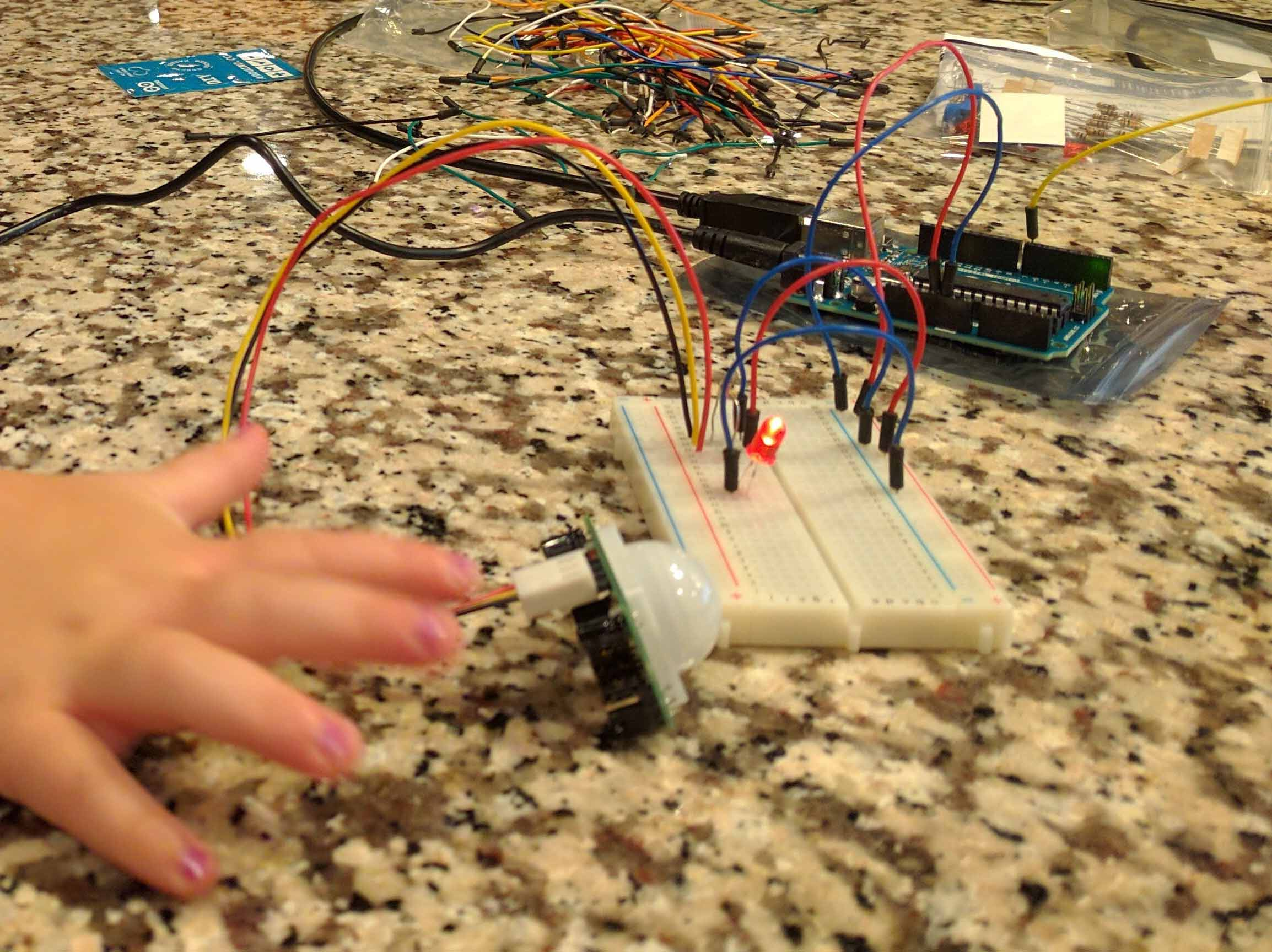 Small hand testing out motion sensor